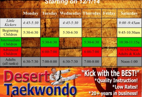 2014 NEW schedule COLOR Sparring class advanced kids